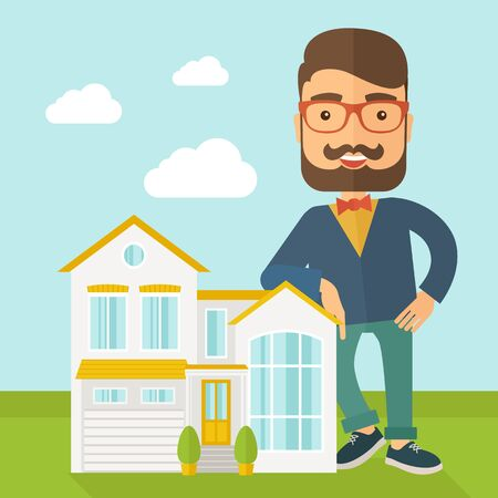 soft sell: A real estate agent poses for use in advertising to sell the house. A Contemporary style with pastel palette, soft blue tinted background with desaturated clouds.  flat design illustration. Square layout.