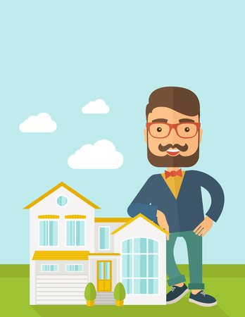 A real estate agent poses for use in advertising to sell the house. A Contemporary style with pastel palette, soft blue tinted background with desaturated clouds.  flat design illustration. Vertical layout with text space on top part.