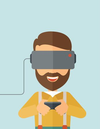 engrossed: A caucasian wearing with virtual reality headset with remote control. A Contemporary style with pastel palette, soft blue tinted background.  flat design illustration. vertical layout with text space on top part. Stock Photo