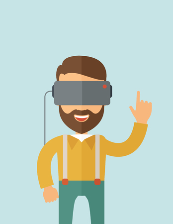A man with isometric virtual reality headset.  flat design illustration. Vertical layout with text space on top part. Stock Photo