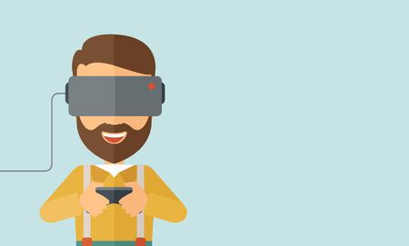 engrossed: A caucasian wearing with virtual reality glass mask with remote control. A Contemporary style with pastel palette, soft blue tinted background.  flat design illustration. Horizontal layout with text space in right side.