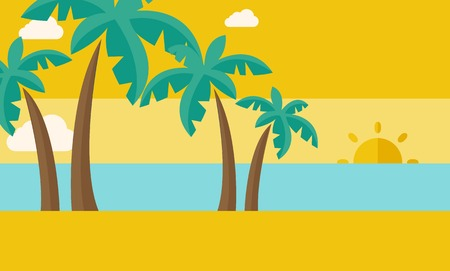 A tropical beach with cloud and sunset. A Contemporary style with pastel palette, dark yellow tinted background.  flat design illustration. Horizontal layout.