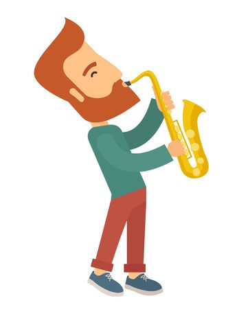 soloist: A caucasian saxophonist playing in the streets. Vertical layout
