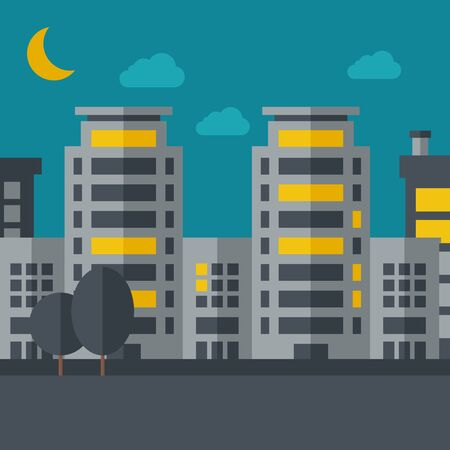 A night scenery of building city with moon.  flat design illustration. Square layout. Stock Photo