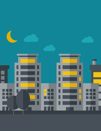A night scenery of building city with moon.  flat design illustration. Vertical layout with text space on top part.