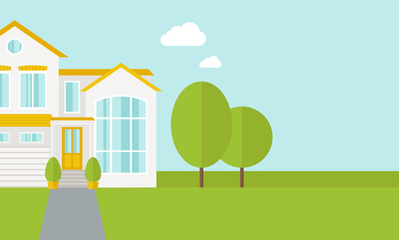 A big house in spring or summer season with trees. A Contemporary style with pastel palette, soft blue tinted background with desaturated cloud.  flat design illustration. Horizontal layout with text space in right side.
