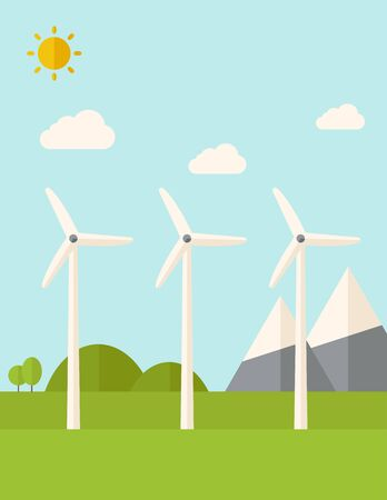 dutch culture: Three windmills standing under the heat of the sun. A Contemporary style with pastel palette, soft blue tinted background with desaturated clouds. flat design illustration. Vertical layout.