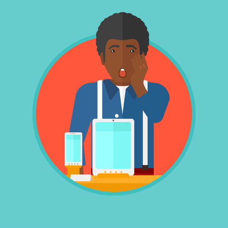 astonish: An african-american young astonished shopper with open mouth looking at digital tablet and smartphone through the shop window. Vector flat design illustration in the circle isolated on background.