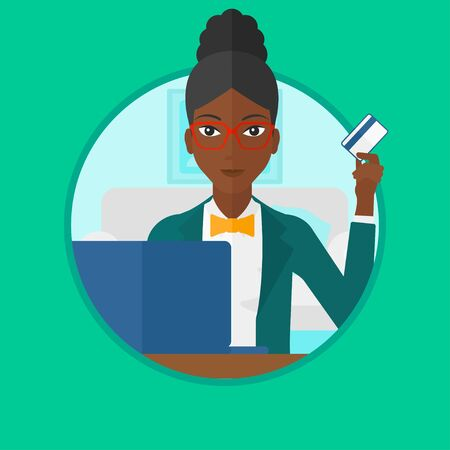 consumer goods: An african-american young woman holding a credit card and using laptop for online shopping at home. Woman making online payment. Vector flat design illustration in the circle isolated on background. Illustration