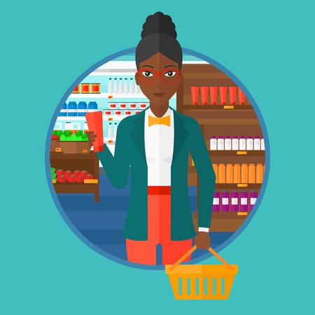 Una mujer afroamericana que sostiene una cesta en una mano y un tubo de crema en otro. El hacer compras en el supermercado. Vector ilustración de diseño plano en el círculo aislado en el fondo.