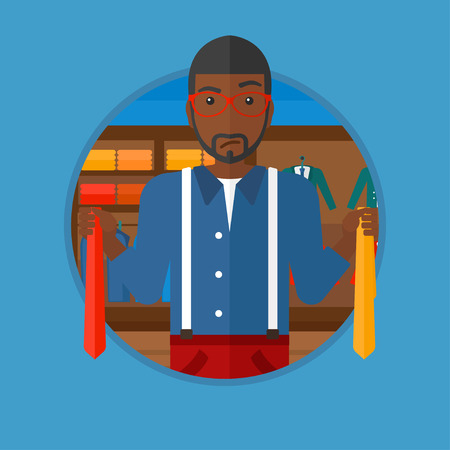 choosing clothes: An african-american man holding two neckties and trying to choose the best one. Customer choosing necktie at clothing store. Vector flat design illustration in the circle isolated on background.