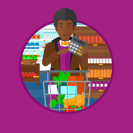 supermarket trolley: An african man at the supermarket with calculator and supermarket trolley full with products. Man checking prices with calculator. Vector flat design illustration in the circle isolated on background. Illustration