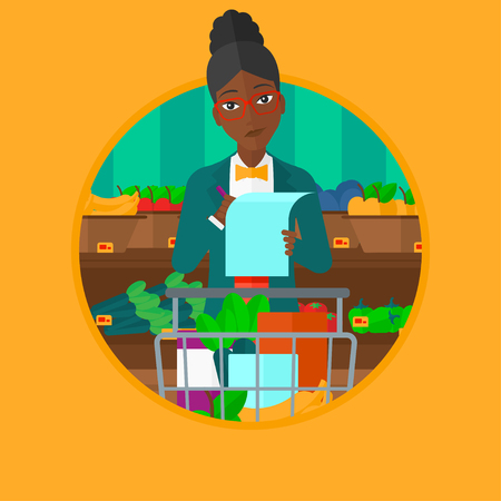 African-american thoughtful woman standing at the supermarket with trolley full with products and holding a shopping list in hands. Vector flat design illustration in the circle isolated on background