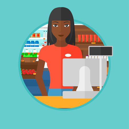 supermarket checkout: An african-american young cashier standing at the checkout at the supermarket. Cashier working at checkout at the supermarket. Vector flat design illustration in the circle isolated on background. Illustration