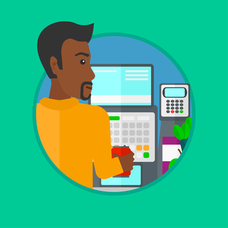 checkout: An african-american young male cashier standing at the checkout in supermarket. Male cashier working at checkout in supermarket. Vector flat design illustration in the circle isolated on background.