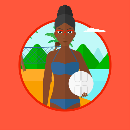 African-american sports woman holding volleyball ball in hands. Beach volleyball player standing at the shore with voleyball net. Vector flat design illustration in the circle isolated on background. Illustration
