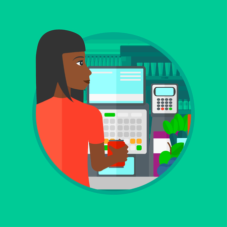 supermarket checkout: African-american young cashier standing at the checkout at the supermarket. Female cashier working at checkout at the supermarket. Vector flat design illustration in the circle isolated on background. Illustration