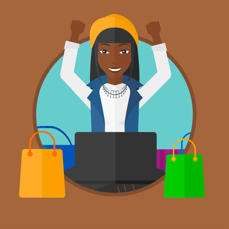 woman using laptop: African-american woman using laptop for shopping online. Woman sitting with shopping bags around her. Woman doing online shopping. Vector flat design illustration in the circle isolated on background. Illustration