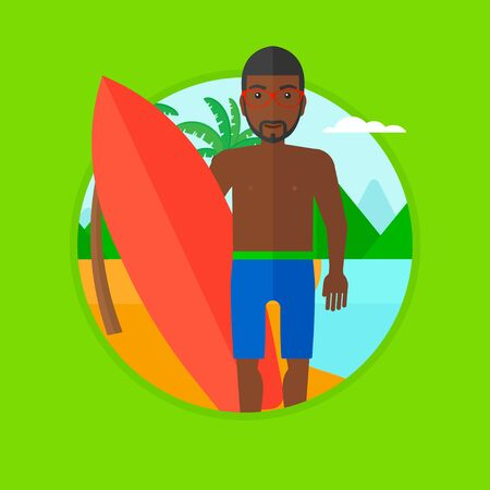 surf board: An african-american young surfer standing with a surfboard on the beach. Professional surfer with a surf board at the beach. Vector flat design illustration in the circle isolated on background.