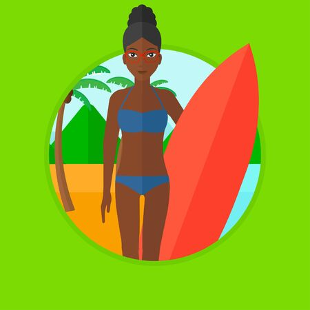 surf board: An african-american young surfer standing with a surfboard on the beach. Female professional surfer with a surf board at the beach. Vector flat design illustration in the circle isolated on background Illustration