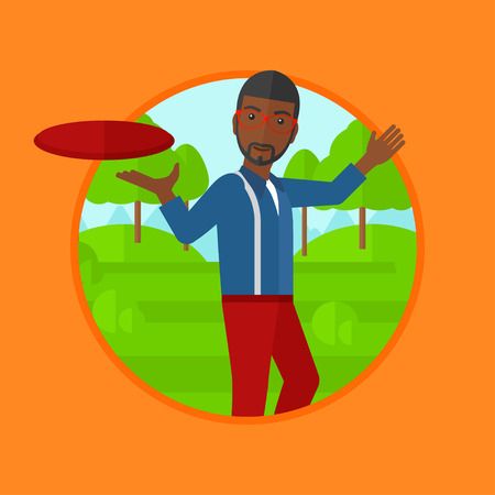 flying man: An african-american man playing flying disc in the park. Man throwing a flying disc. Sportsman catching flying disc outdoors. Vector flat design illustration in the circle isolated on background.