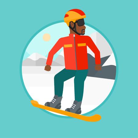 An african-american man snowboarding on the background of snow capped mountain. Young man snowboarding in the mountains. Vector flat design illustration in the circle isolated on background.