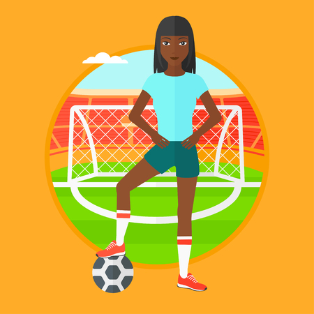 sportswoman: African-american sportswoman standing with football ball on the football stadium. Football player with a soccer ball on the field. Vector flat design illustration in the circle isolated on background.