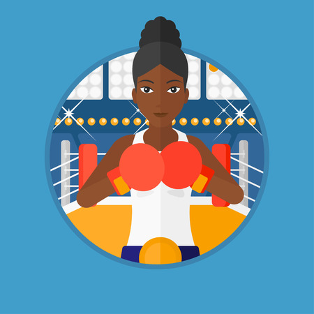 sportswoman: An african-american young sportswoman in boxing gloves. Professional female boxer standing in the boxing ring. Vector flat design illustration in the circle isolated on background. Illustration