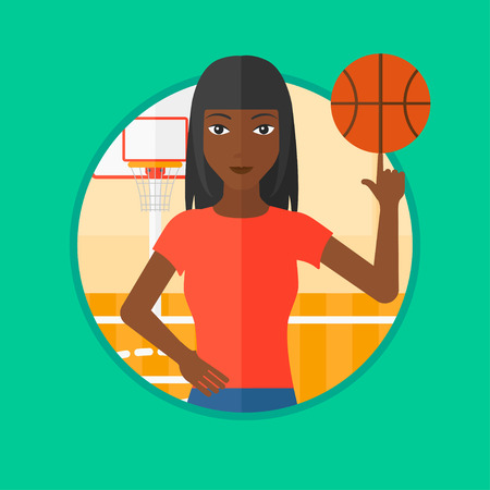 An african-american sportswoman spinning basketball ball on her finger. Young basketball player standing on the basketball court. Vector flat design illustration in the circle isolated on background.