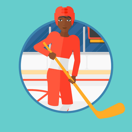 ice hockey player: An african-american ice hockey player skating on ice rink. Professional ice hockey player with a stick. Woman playing ice hockey. Vector flat design illustration in the circle isolated on background.