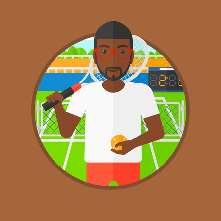 An african-american tennis player standing on tennis court. Tennis player holding a tennis racket and a ball. Man playing tennis. Vector flat design illustration in the circle isolated on background.