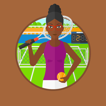 tennis court: An african-american tennis player standing on tennis court. Tennis player holding a tennis racket and a ball. Woman playing tennis. Vector flat design illustration in the circle isolated on background Illustration