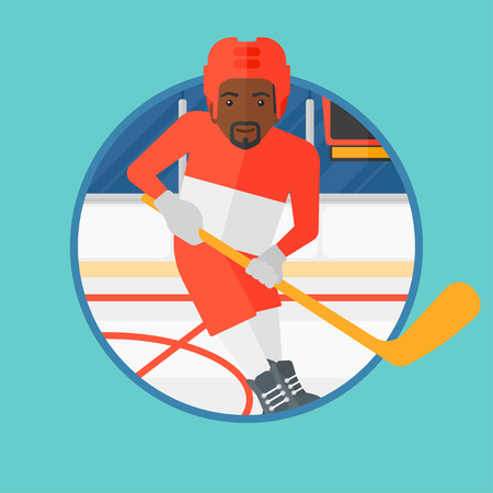ice hockey player: An african-american ice hockey player skating on ice rink. Ice hockey player with a stick. Sportsman playing ice hockey. Vector flat design illustration in the circle isolated on background.
