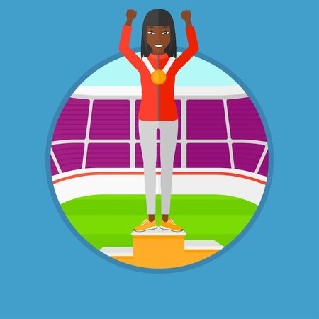 An african sportswoman celebrating on the winners podium. Woman with gold medal and hands raised standing on the winners podium. Vector flat design illustration in the circle isolated on background.