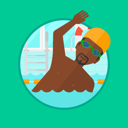 swimming cap: An african-american young sportsman in swimming cap and glasses swimming in pool. Professional male swimmer in swimming pool. Vector flat design illustration in the circle isolated on background.