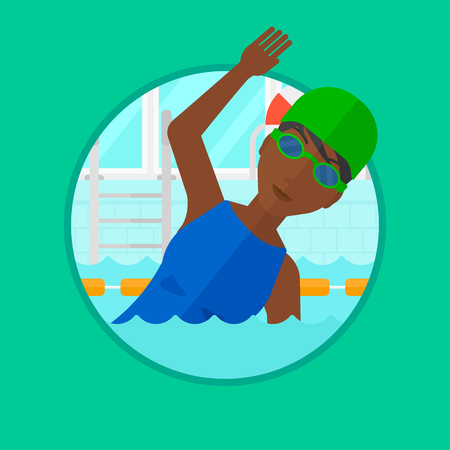 swimming cap: An african-american young sportswoman in swimming cap and glasses swimming in pool. Professional female swimmer in swimming pool. Vector flat design illustration in the circle isolated on background.