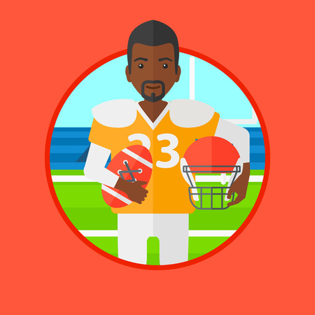 An african-american rugby player holding ball and helmet in hands. Male rugby player in uniform standing on rugby stadium. Vector flat design illustration in the circle isolated on background.