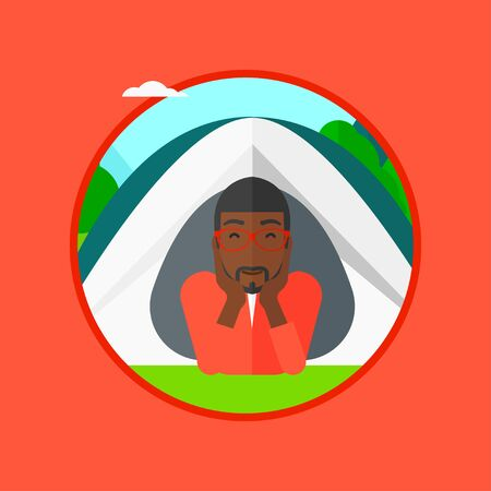 An african-american man crawling out from a camping tent. Young man with his hands on cheek lying in camping tent and relaxing. Vector flat design illustration in the circle isolated on background.