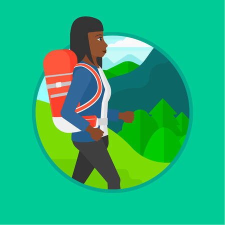 woman hiking: An african-american young woman hiking in mountains. Traveler with backpack mountaineering. Woman with backpack walking outdoor. Vector flat design illustration in the circle isolated on background.