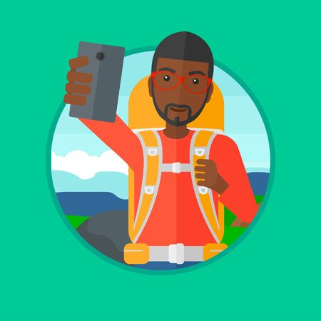 An african-american man making selfie on the background of hilly countryside. Man with backpack taking photo with cellphone. Vector flat design illustration in the circle isolated on background. Ilustração