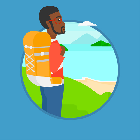 An african-american man standing on the top of mountain and enjoying the view while looking at landscape of mountains with lake. Vector flat design illustration in the circle isolated on background. Illustration