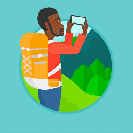 cellphone: An african-american man taking photo of landscape with mountains. Young tourist with backpack taking photo with his cellphone. Vector flat design illustration in the circle isolated on background. Illustration