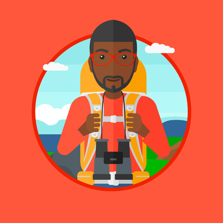backpacker: An african-american man walking in the mountains. Male traveler with backpack and binoculars. Backpacker hiking in mountains. Vector flat design illustration in the circle isolated on background.