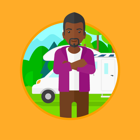 motor home: An african-american man standing in front of motor home. Young tourist with arms crossed enjoying vacation in camper van. Vector flat design illustration in the circle isolated on background.