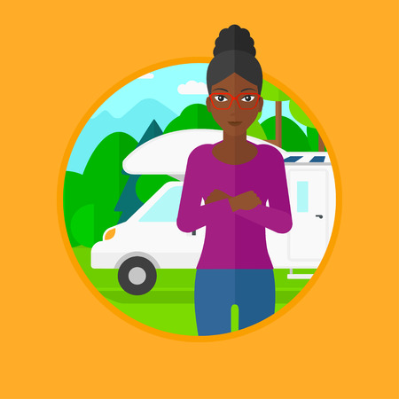 motor home: An african-american young woman standing in front of motor home. Woman with arms crossed enjoying her vacation in camper van. Vector flat design illustration in the circle isolated on background. Illustration