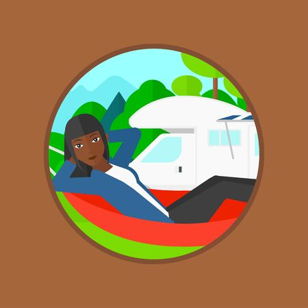 motor home: An african-american woman lying in a hammock in front of motor home. Woman resting in hammock and enjoying vacation in camper van. Vector flat design illustration in the circle isolated on background.
