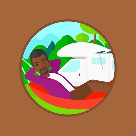 An african-american man lying in a hammock in front of motor home. Tourist resting in hammock and enjoying vacation in camper van. Vector flat design illustration in the circle isolated on background.