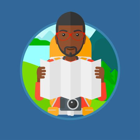 An african traveler with backpack and camera looking at map. Man travelling in mountains. Traveler searching right direction on map.Vector flat design illustration in the circle isolated on background 向量圖像