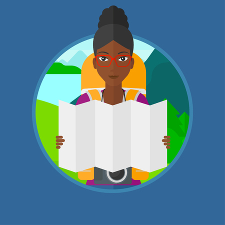 An african traveler with backpack and camera looking at map. Woman travelling in mountains. Traveler searching right direction. Vector flat design illustration in the circle isolated on background. Illustration