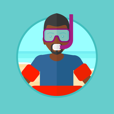 rubber ring: An african-american man in mask, tube and rubber ring standing on the sea beach. Man wearing snorkeling equipment on the beach. Vector flat design illustration in the circle isolated on background. Illustration
